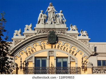 Port Authority Building Barcelona, Spain.  At one end of the La Rambla, the building was built in 1903 and is considered an historical and artistic architectural monument in Barcelona.
