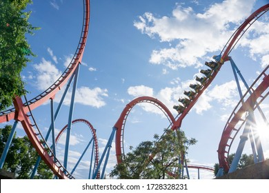 PORT AVENTURA, SALOU SPAIN ON JUNE 2019:Port Aventura is an amusement park and a European resort located in the area of Tarragona, Catalonia. Shambhala is the new  of the 'big four'