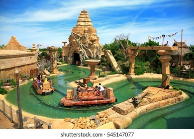 PORT AVENTURA, SPAIN - MAY, 11. Interactive water attraction Angkor located in the China area  in the theme park Port Aventura on May 11, 2015 in city Salou, Catalonia, Spain.