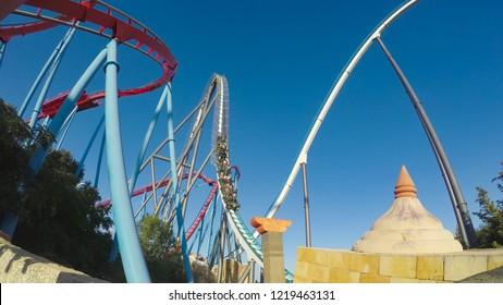 PORT AVENTURA, SPAIN - OCTOBER 7, 2018. Attraction Shambhala in the theme park Port Aventura on October 7, 2018 in city Salou, Catalonia, Spain.
