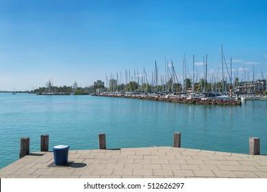 Port of Balatonfured and Lake Balaton with boats in Hungary