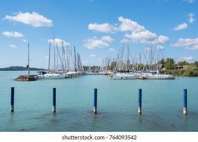 Port of Balatonfured and Lake Balaton with boats, Hungary