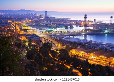 Port  at Barcelona in dawn time. Catalonia, Spain