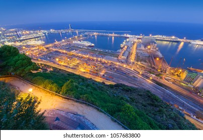 port of Barcelona. night city view, Spain