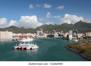 Port, bay and city. Port Louis, Mauritius