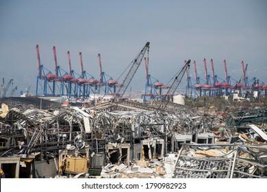 Port, Beirut / Lebanon - 8 6 2020: Beirut Blast | Port of Beirut Destruction after the Massive Explosion