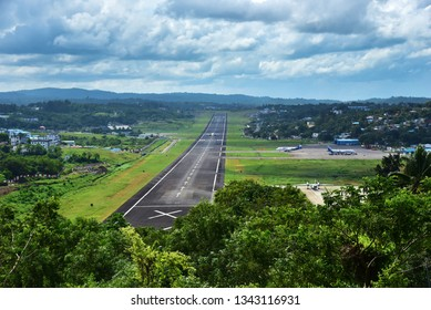 PORT BLAIR, ANDAMANS, INDIA, NOVEMBER 26, 2017: View of the runway of Veer Savarkar International Airport from Jogger's park on a bright day.