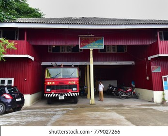 PORT BLAIR, ANDAMANS, INDIA, NOVEMBER 22, 2017: Fire station of Chatham island, Port Blair, A fire engine at the ready.