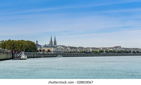 The port of Bordeaux, France, and the Garonne river, view from the Port de la Lune area.  Bordeaux is the biggest urban UNESCO World Heritage site in the world and a top tourist destination in Europe.