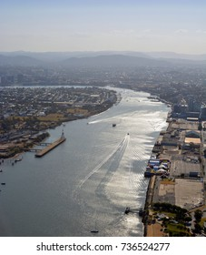 Port of Brisbane Aerial  early morning view, Queensland Australia