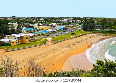 PORT CAMPBELL, VIC, AUSTRALIA - NOVEMBER 07 : Beach and towns cape from the village on Great Ocean Road in Port Campbell national park, on November 07, 2017 in Port Campbell, Australia
