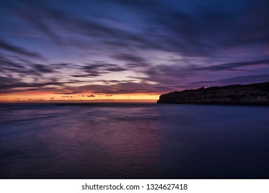 Port Campbell, Victoria / Australia - January 26th 2019. Iconic tourist spot at the Great Ocean Road along south coast of Victoria / Australia - Port Campbell. Amazing sunset at the Port Campbell Bay