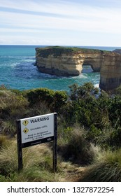 Port Campbell, Victoria/Australia- September 3 2016: A safety sign to wrn of unstable cliff edges at Port Campbell National Park in Australia.