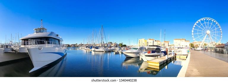 The port of Cap d'Agde in Occitania, France