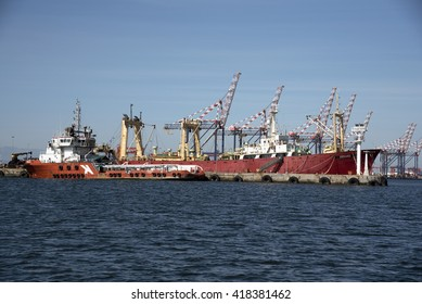 PORT OF CAPE TOWN SOUTH AFRICA - APRIL 2016 - The Verano a Russian registered trawler alongside with a tug and supply ship Tricia K on the quayside