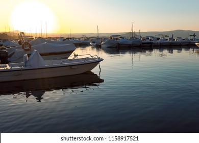The Port of Capodimonte, on Lake Bolsena in Italy, at sunset in summer