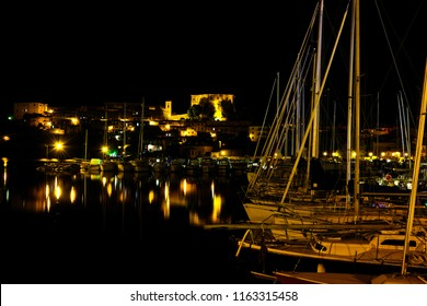 The Port of Capodimonte, on Lake Bolsena in Italy, at night in summer