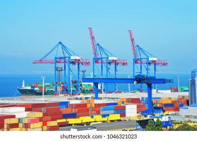 Port cargo crane, ship and container, Odessa, Ukraine