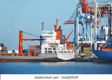 Port cargo crane, ship and container, Odessa, Ukraine