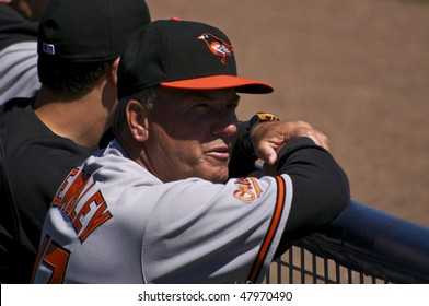 PORT CHARLOTTE, FLORIDA - MARCH 4: Baltimore Orioles Manager Dave Trembley in the dugout prior to a game against the Tampa Bay Rays on March 4, 2010 in Port Charlotte, Florida