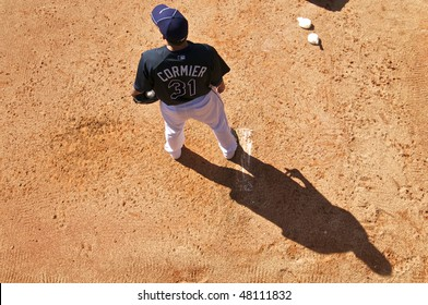 PORT CHARLOTTE, FLORIDA - MARCH 4: Lance Cormier of the Tampa Bay Rays warms up in the bullpen during a game against the Baltimore Orioles on March 4, 2010 in Port Charlotte, Florida