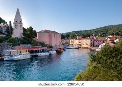 Port and church landscape at Veli losinj - Croatia