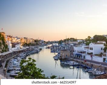 Port in Ciutadella, Menorca during sunset in the summer