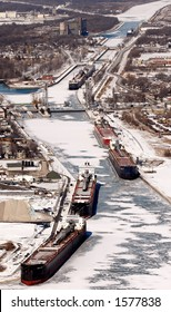 Port Colborne, Ontario, Canada. Harbour in the winter/spring of 2006 with ships docked for winter.