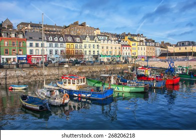 Port and colorful houses in Cobh, Ireland. Famous city and popular touristic destination