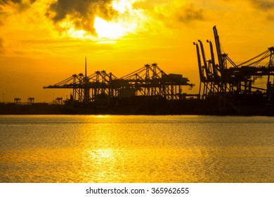 Port container terminal for transportation your product with silhouettes
