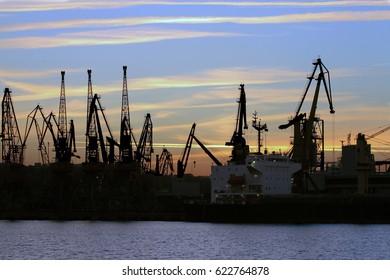 Port cranes against the evening sky. Odessa, Ukraine
