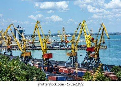 Port cranes in container terminal in Odessa seaport, Ukraine.