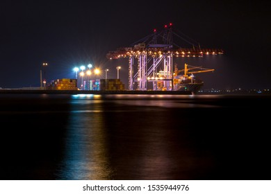Port cranes in Odessa at the night