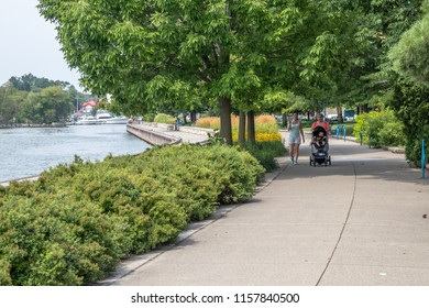 PORT CREDIT, CANADA-AUGUST 15TH, 2018; J.J. Plaus Park in Port Credit is one of many Lakefront parks in the GTA. People come down for walks along Lake Ontario and the harbour all year round.