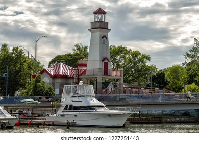 Port Credit, Mississauga, Canada - June 19, 2018: Beautiful view of the Port Credit Lighthouse, near the harbour by the Credit River.