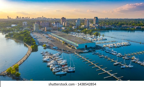 Port Credit in the spring with Mississauga in the background late afternoon