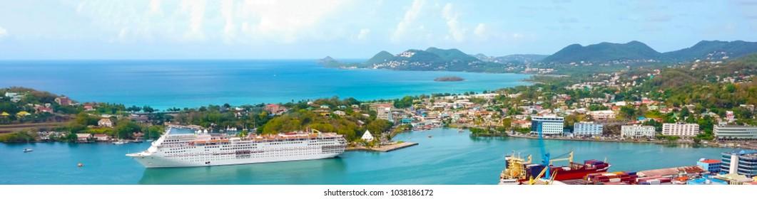 The port or cruise dock at Saint Lucia island at Caribbean sea