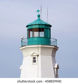 Port Dalhousie, Canada - June 26, 2016: Top of lighthouse on shore of Lake Ontario.