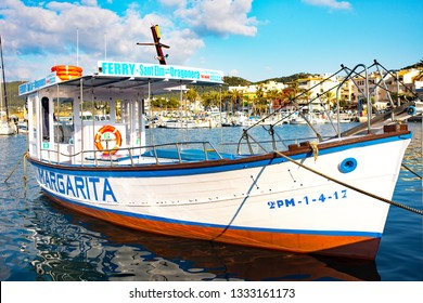Port d'Andratx, Mallorca. 20th February 2019. The Margarita, a sightseeing day trips boat moored in the bay at Port d'Andratx, Mallorca, Spain.