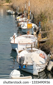 Port d'Andratx, Mallorca. 20th February 2019. Small white sailing boats moored along the reed lined river bank at Port d'Andratx, Mallorca, Spain.