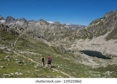 Port de Caldes lake of glacial origin at 2,412 m ASL, as seen from  Port de Caldes de Colomers mountain pass at 2,572 m ASL, Aiguestortes & Estany de Sant Maurici National Park, Pyrenees, Spain
