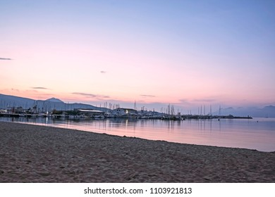 PORT DE POLLENSA, MALLORCA - MAY 20 2018: The Bay of Pollensa  in the early morning. Port de Pollensa is a small town in northern Majorca, Spain, situated on the Bay of Pollensa.