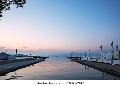 PORT DE POLLENSA, MALLORCA - MAY 20 2018: The entry to the lagoon in the early morning. Port de Pollensa is a small town in northern Majorca, Spain, situated on the Bay of Pollensa.