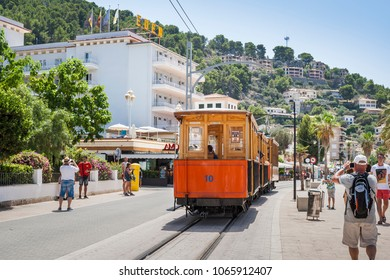 PORT DE SOLLER, MAJORCA - 03 Aug 2017: Mallorca's old electric tram running between Soller and the downtown of Port de Soller
