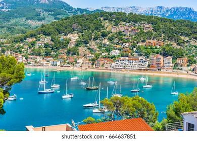 Port de Soller, Majorca island, Spain Mediterranean Sea.