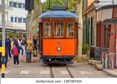 Port de Soller - Majorca - Spain - April 2019 : Train Coming From Majorca Enters Last Station Of The Line