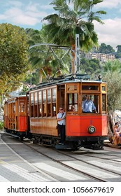 Port de Soller, Mallorca, Spain - 10/17/2016: historic tram in Port de Soller on Mallorca island