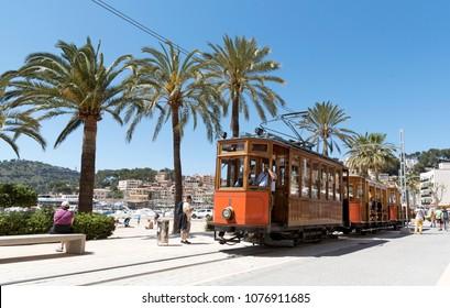 Port de Soller, Mallorca, Spain. April 2018. Vintage tram on the seafront at Port Soller.