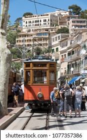 Port de Soller, Mallorca, Spain. April 2018. Vintage tram at the station on the seafront at Port Soller.
