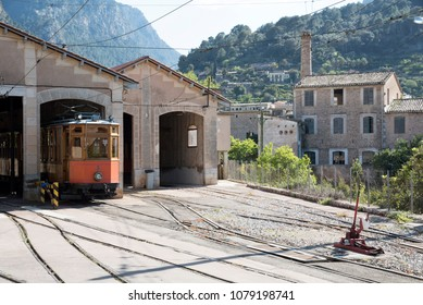 Port de Soller, Mallorca, Spain. April 2018. Vintage tram  in a shed at the  railway station at Port Soller.